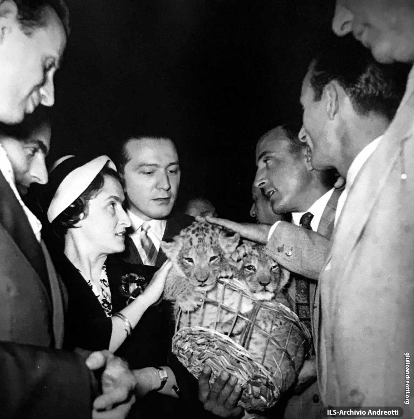 1957. Giulio e Livia Andreotti in visita al Circo Orfei