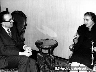 Il primo ministro israeliano Golda Meir a Roma in visita ufficiale il 15 gennaio 1973