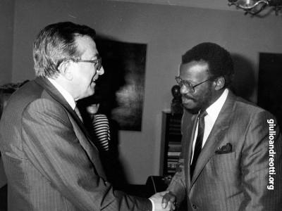 Roma, 29 settembre 1986. Incontro con il leader del popolo zulu Mangosuthu Buthelezi