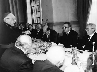 18 febbraio 1984. Pranzo a Villa Madama in occasione del nuovo concordato. Parla il cardinale Casaroli