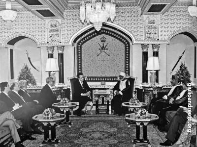 1988. In Oman con il Sultano Qabus bin Said al Said