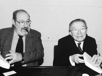 Con Umberto Eco alla presentazione dell'Almanacco del Bibliofilo