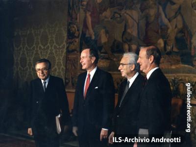 27 maggio 1989. Visita in Quirinale del Presidente americano Bush.