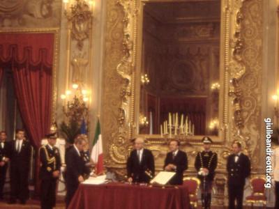 Il giuramento in Quirinale del VI governo Andreotti. È  il 22 luglio 1989.