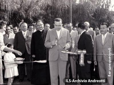 La inaugurazione del complesso di edilizia popolare Villaggio di San Francesco a Velletri. E' il 30 agosto 1959