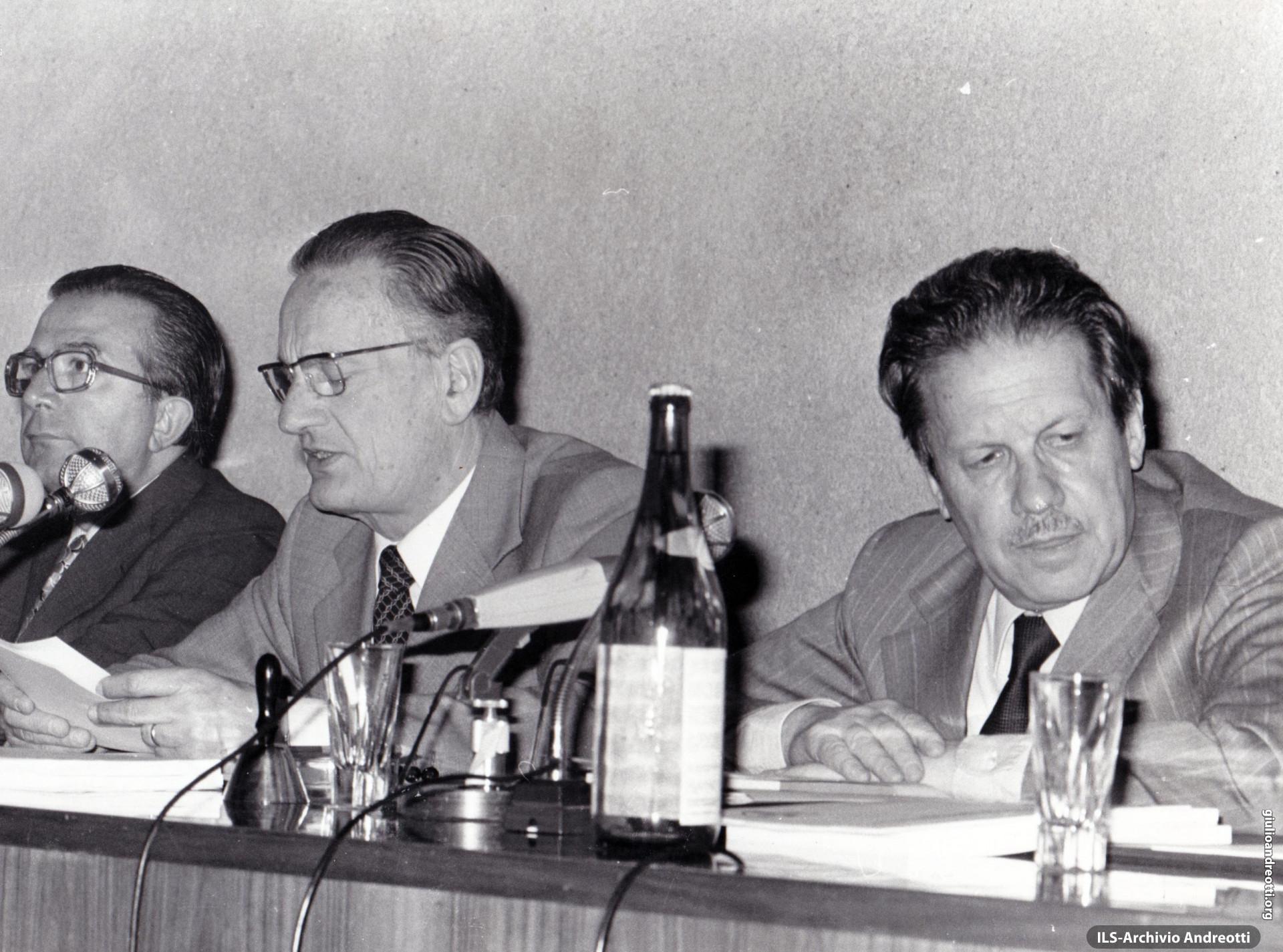 23 giugno 1979. Consiglio nazionale della DC dopo le elezioni del 3 giugno. Con Andreotti, Zaccagnini e Piccoli.
