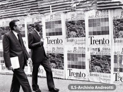 Festa dell'Amicizia della DC, Trento, Agosto 1981. Giulio Andreotti con Arnaldo Forlani.