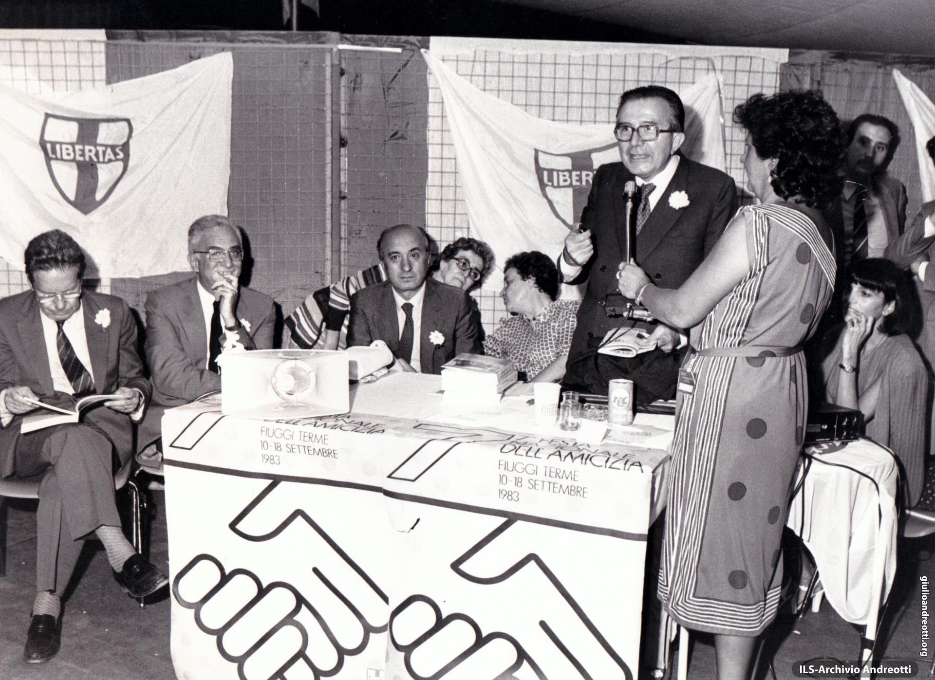 Festa dell'Amicizia della DC, Fiuggi, 10-18 settembre 1983. Tavola rotonda con Andreotti, De Mita, Cossiga e Piccoli.