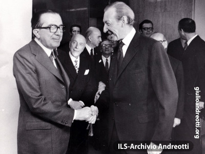 Incontro con il Segretario Generale dell'ONU Kurt Waldheim in occasione dell'Assemblea delle Nazioni Unite del settembre 1973